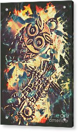Retro Pop Art Owls Under Floating Feathers Acrylic Print