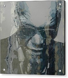 Acrylic Print featuring the mixed media Retro / Ray Charles  by Paul Lovering
