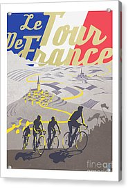 Acrylic Print featuring the painting Retro Tour De France by Sassan Filsoof