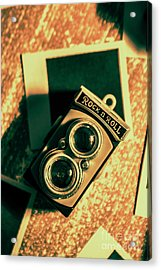 Retro Toy Camera On Photo Background Acrylic Print by Jorgo Photography - Wall Art Gallery