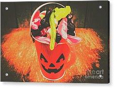 Retro Trick Or Treat Pumpkin Head  Acrylic Print
