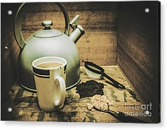 Retro Vintage Toned Tea Still Life In Crate Acrylic Print by Jorgo Photography - Wall Art Gallery