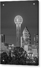 Reunion Tower Bw Acrylic Print by Tod and Cynthia Grubbs