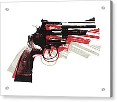 Revolver On White - Right Facing Acrylic Print by Michael Tompsett