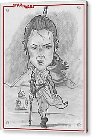 Rey The Force Awakens Acrylic Print by Chris DelVecchio