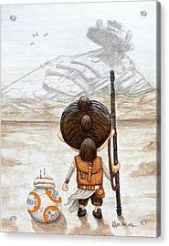 Rey With Bb8 Acrylic Print by Al  Molina