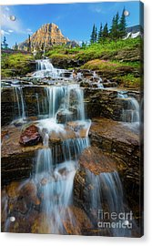 Reynolds Mountain Waterfall Acrylic Print by Inge Johnsson