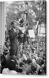 Rfk Speaking At Core Rally Acrylic Print by War Is Hell Store