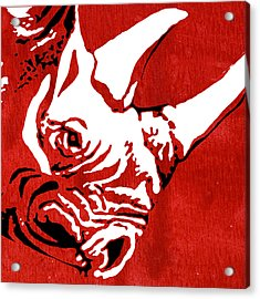 Rhino Animal Decorative Red Poster 9 - By  Diana Van Acrylic Print