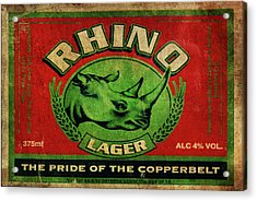 Acrylic Print featuring the digital art Rhino Lager by Greg Sharpe