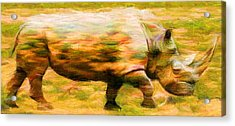 Rhinocerace Acrylic Print by Caito Junqueira