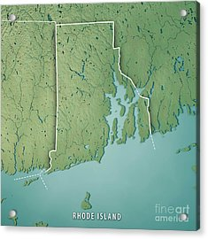 Rhode Island State Usa 3d Render Topographic Map Border Acrylic Print