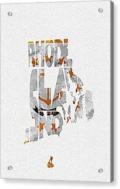 Rhode Island Typographic Map Flag Acrylic Print