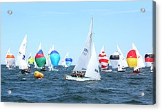 Acrylic Print featuring the photograph Rhodes Nationals Sailing Race Dennis Cape Cod by Charles Harden
