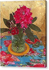 Acrylic Print featuring the digital art Rhododendron by Alexis Rotella