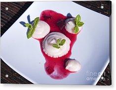 Rhubarb Semolina Pudding Acrylic Print by D R