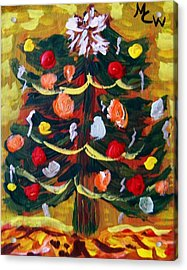 Acrylic Print featuring the painting Ribbon Garland by Mary Carol Williams