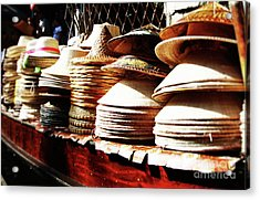 Acrylic Print featuring the photograph Rice Hats by Thanh Tran