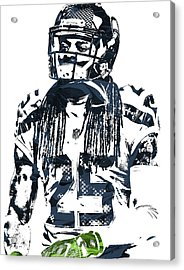 Richard Sherman Seattle Seahawks Pixel Art 4 Acrylic Print by Joe Hamilton