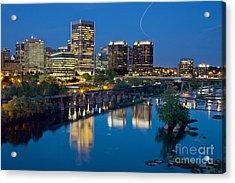 Richmond Skyline Helo Trail Acrylic Print