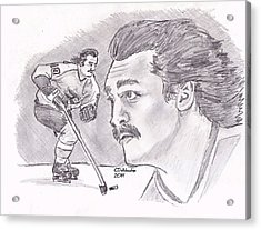 Acrylic Print featuring the drawing Rick Macleish 50 by Chris  DelVecchio
