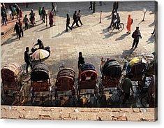 Rickshaw Taxis In Durbar Square Acrylic Print