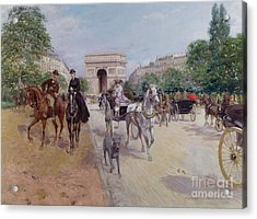 Riders And Carriages On The Avenue Du Bois Acrylic Print