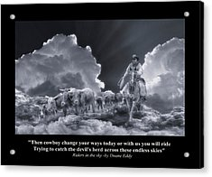 Riders In The Sky Bw Acrylic Print