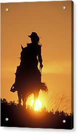 Riding Cowgirl Sunset Acrylic Print