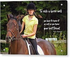 Riding Grace Quote Acrylic Print by JAMART Photography