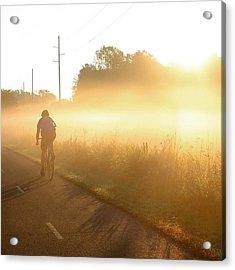 Riding Into The Morning Fog Acrylic Print