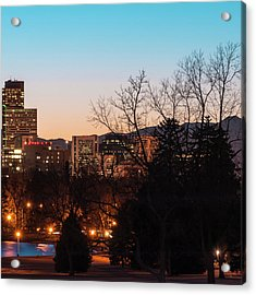 Right Panel 3 Of 3 - Denver Colorado Skyline Panoramic Acrylic Print