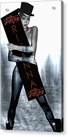 Rihanna Love Card By Gbs Acrylic Print by Anibal Diaz
