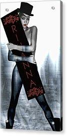 Rihanna Love Card By Gbs Acrylic Print by Anibal Diaz