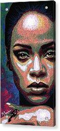 Rihanna Acrylic Print by Maria Arango