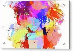 Rihanna Paint Splatter Acrylic Print by Dan Sproul
