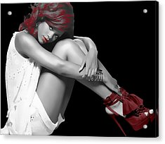Rihanna Simple By Gbs Acrylic Print by Anibal Diaz