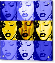 Rihanna Warhol Barbados By Gbs Acrylic Print by Anibal Diaz