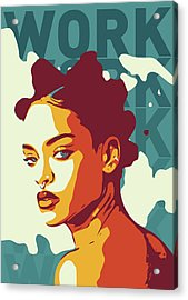 Rihanna Acrylic Print by Greatom London
