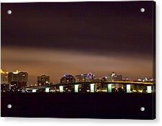 Ringling Bridge And Sarasota Acrylic Print by Nicholas Evans