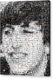 Ringo Starr Beatles Mosaic Acrylic Print by Paul Van Scott