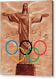 Rio 2016 Christ The Redeemer Statue Artwork Acrylic Print by Georgeta Blanaru