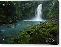 Rio Celeste And Waterfall Acrylic Print by Juan Carlos Vindas