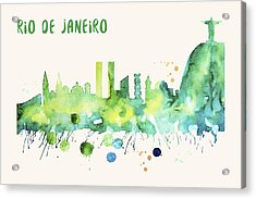 Rio De Janeiro Skyline Watercolor Poster - Cityscape Painting Artwork Acrylic Print