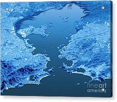Rio De Janeiro Topographic Map 3d Landscape View Blue Color Acrylic Print