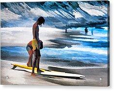 Rio Surfers Acrylic Print by Dennis Cox