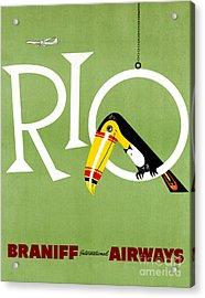 Rio Vintage Travel Poster Restored Acrylic Print