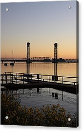 Rio Vista Bridge And Sail Boats Acrylic Print by Troy Montemayor