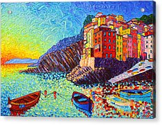 Riomaggiore Sunset - Cinque Terre Italy - Palette Knife Oil Painting By Ana Maria Edulescu Acrylic Print