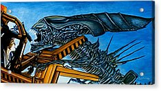 Acrylic Print featuring the painting Ripley Vs Queen Up Close And Personal by Al  Molina